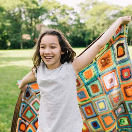 girl with blanket